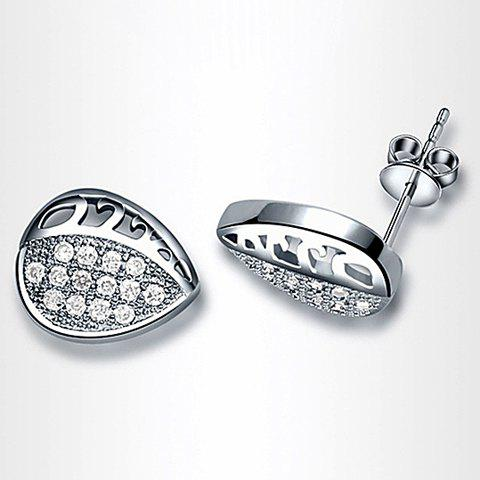 Pair of Simple Versatile Diamante Hollow Leaf Earrings For Women - AS THE PICTURE