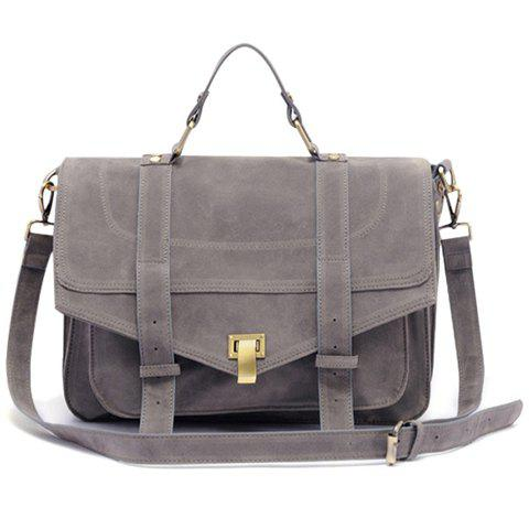 Vintage Suede and Solid Color Design Tote Bag For Women - GRAY