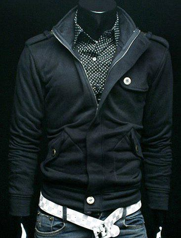 Stylish Stand Collar Zipper Button Embellished Solid Color Men's Long Sleeve Cotton Sweatshirt - BLACK 2XL