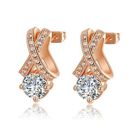 Pair of Chic Faux Crystal Embellished Cross Design Earrings For Women - AS THE PICTURE