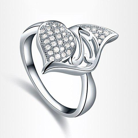Trendy Diamante Leaf Embellished Hollow Design Alloy Ring For Women - AS THE PICTURE ONE SIZE