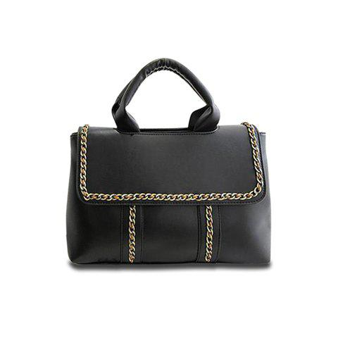 Vintage Chains and Solid Color Design Tote Bag For Women - BLACK