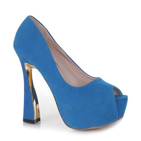 Party Suede and Chunky Heel Design Peep Toed Shoes For Women - BLUE 39