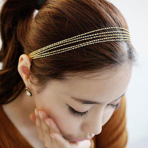 Versatile Golden Multilayered Alloy Hairband For Women - CHAMPAGNE