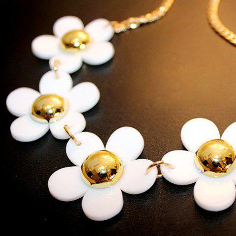 Fashion Sunflower Pendant Alloy Necklace For Women - WHITE