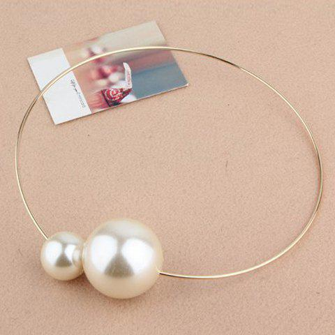 Simple Chic Big Faux Pearl Embellished Alloy Necklace For Women - COLOR ASSORTED
