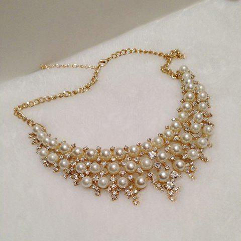 Chic Diamante Multilayered Faux Pearl Necklace For Women - AS THE PICTURE