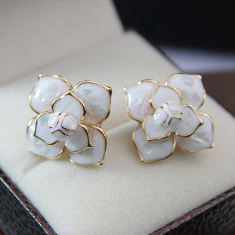 Pair of Chic Solid Flower Earrings For Women - AS THE PICTURE