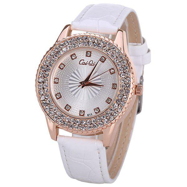 Water Resistant Quartz Watch with 12 Diamonds Hour Marks Leather Watchband for WomenWatches<br><br><br>Color: WHITE