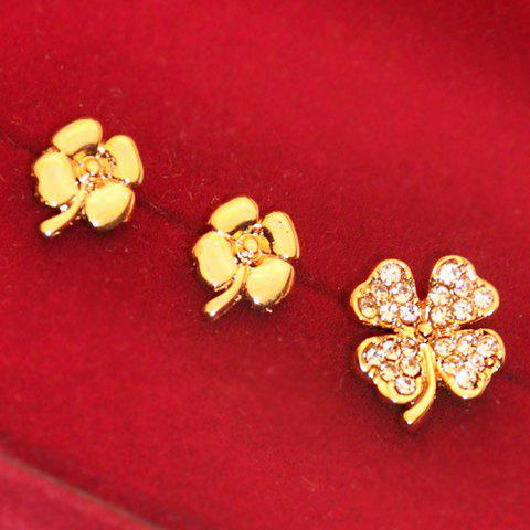 3PCS of Diamante Golden Alloy Earrings For Women - AS THE PICTURE
