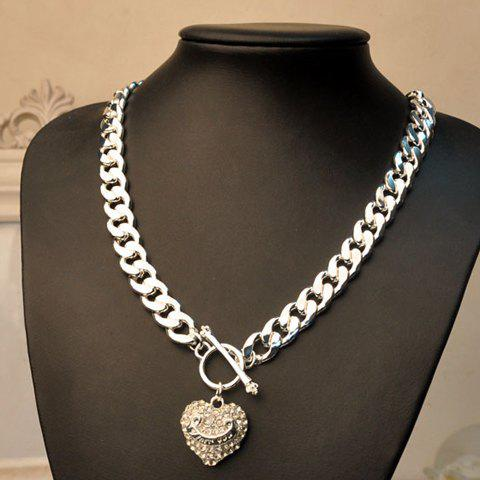 Fashion Fully-jewelled Heart Pendant Thick Alloy Necklace For Women