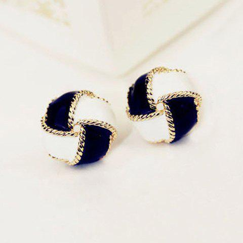 Pair of Cute Black and White Spiral Earrings For Women