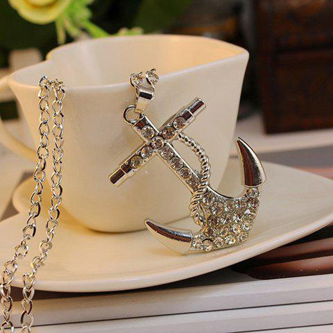 Simple Fully-jewelled Anchor Pendant Sweater Chain Necklace For Women - SILVER
