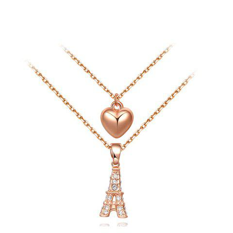 Chic Rhinestoned Tower and Heart Shape Design Multi-Layered Necklace For Women