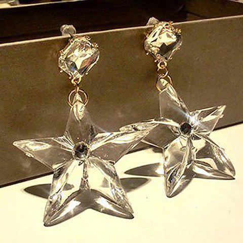 Pair of Fashion Transparent Star Pendant Earrings For Women - AS THE PICTURE