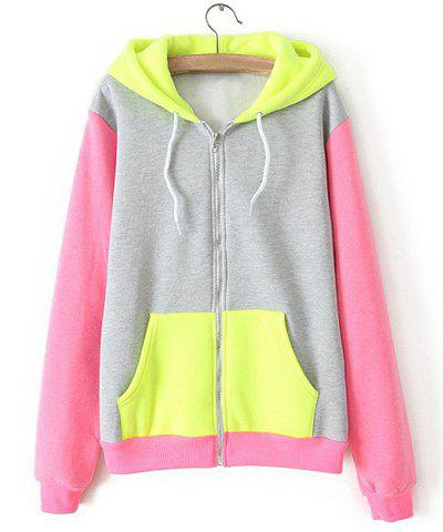 Hooded Long Sleeve Zipper Pockets Splicing Color Block Women's Coat - YELLOW M
