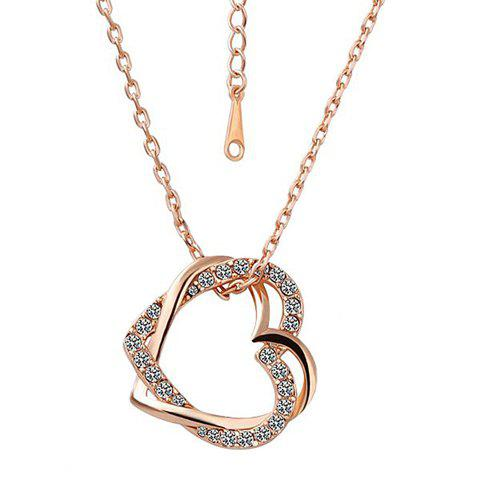 Characteristic Rhinestoned Double Hearts Pendant Necklace