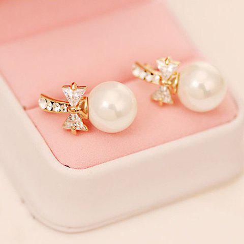 Pair of Chic Diamante Big Faux Pearl Earrings For Women