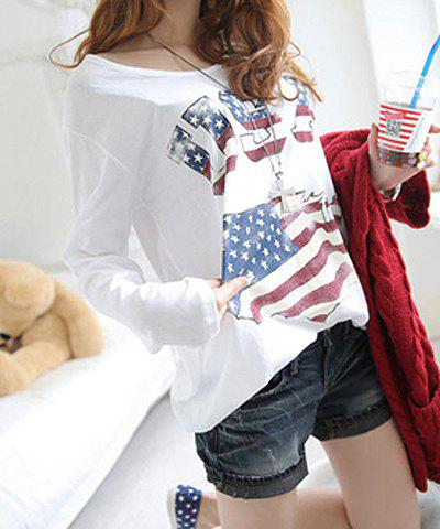 Loose-Fitting Scoop Neck American Flag Print Long Sleeve Women's T-Shirt - WHITE ONE SIZE