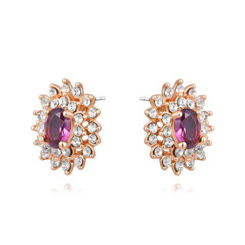 Pair of Characteristic Rhinestoned Flower Shape Crystal Stud Earrings For Women