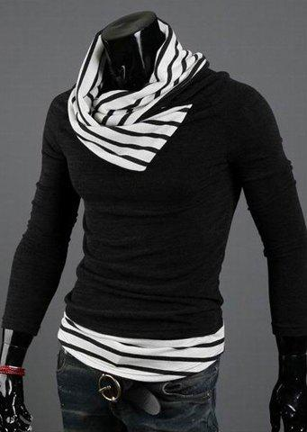 Casual Special High Collar Pullover Stripe Mens Long Sleeve Cotton Blend SweaterMen<br><br><br>Size: M<br>Color: STRIPES