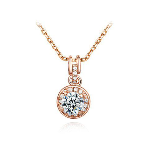 Gorgeous Rhinestoned Round Pendant Necklace For Women - AS THE PICTURE