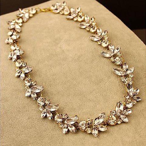 Retro Rhinestone Floral Necklace For Women