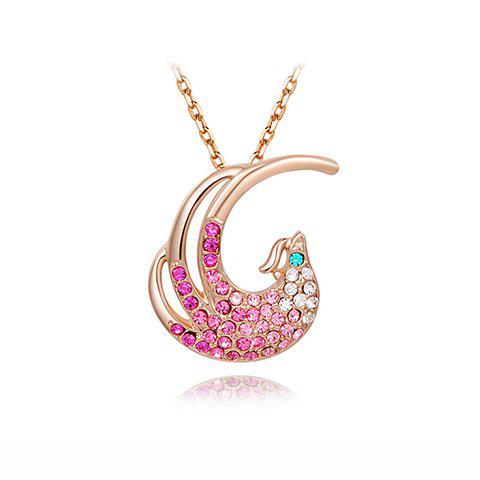 Characteristic Rhinestoned Phoenix Shape Pendant Necklace For Women - AS THE PICTURE