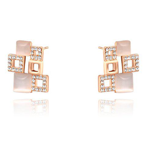 Pair of Characteristic Rhinestoned Square Stud Earrings For Women
