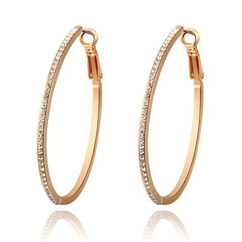 Pair of Characteristic Rhinestoned Alloy Hoop Earrings - AS THE PICTURE