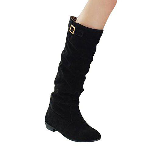 Simple Buckle and Solid Color Design Boots For Women - BLACK 39