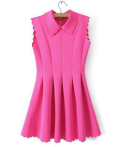 Sweet Turn-Down Collar Back Zipper Petals Hem Sleeveless Pleated Women's Dress - PINK M