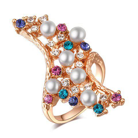 Characteristic Faux Pearl Design Rhinestoned Alloy Ring For Women - ONE SIZE AS THE PICTURE