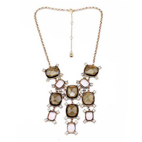 Diamante Faux Crystal Pendant Alloy Necklace - AS THE PICTURE