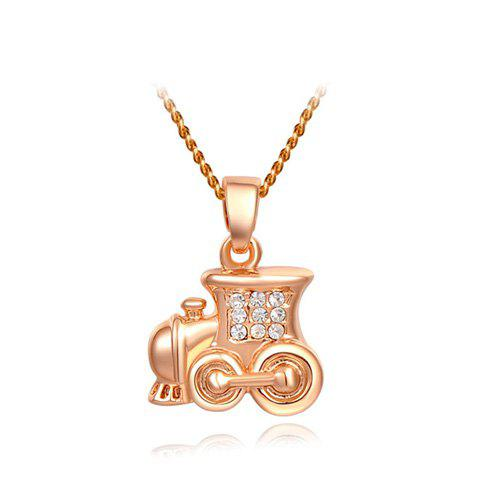 Rhinestoned Locomotive Shape Pendant Necklace - AS THE PICTURE