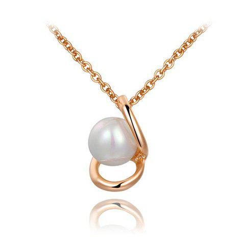 Charming Circle Shape Design Pearl Pendant Necklace For Women - AS THE PICTURE