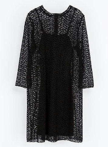 Simple Style Round Collar 3/4 Sleeve Hollow Out Black Lace Women's Dress - BLACK S