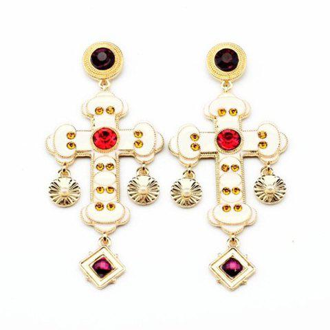 Pair of Trendy Diamante White Cross Pendant Earrings For Women - AS THE PICTURE