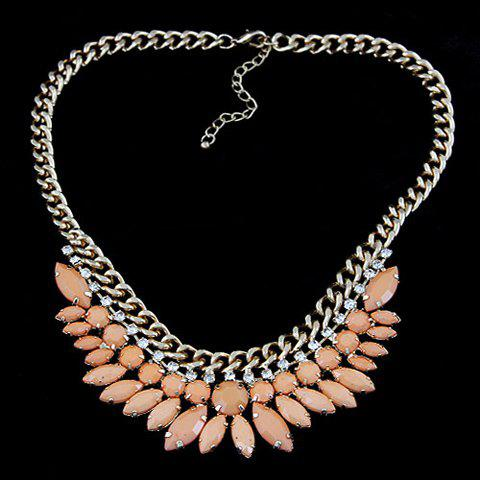Exaggerated Rhinestoned Faux Gem Pendant Necklace - COLOR ASSORTED