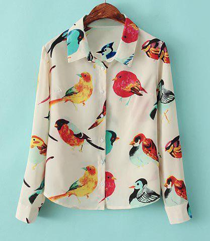 Turn-Down Collar Colored Bird Long Sleeves Single-Breasted Women's Chiffon Blouse
