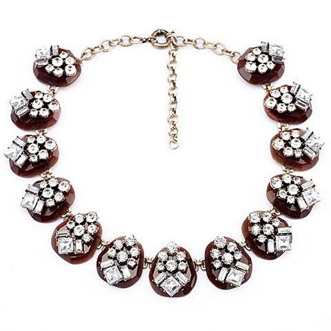 Faux Gemstone Embellished Chain Necklace -  AS THE PICTURE