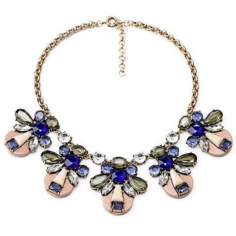 Chic Transparent Colored Faux Crystal Pendant Alloy Necklace For Women - AS THE PICTURE