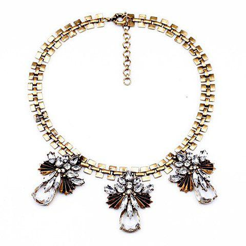 Faux Crystal Waterdrop Alloy Pendant Necklace - AS THE PICTURE