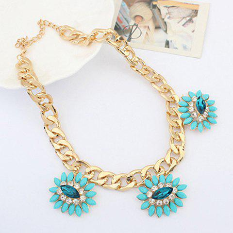 Elegant Diamante Colored Flower Embellished Alloy Necklace For Women
