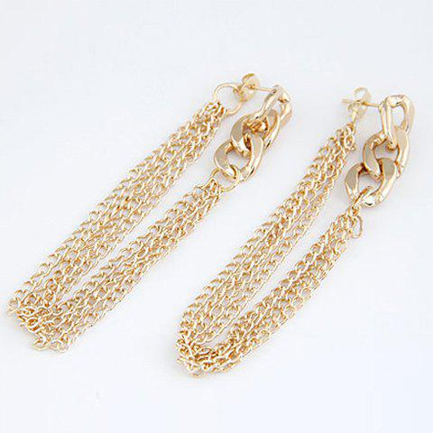 Alloy Chain Tassel Drop Earrings - AS THE PICTURE