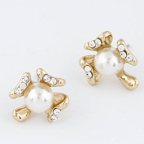 Pair of Rhinestoned Design Flower Shape Pearl Stud Earrings - AS THE PICTURE