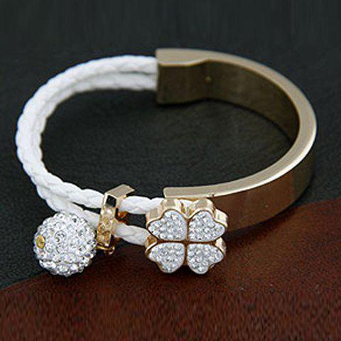 Charming Rhinestoned Four Leaf Clover and Ball Shape Bracelet