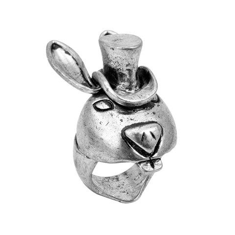 Trendy Bunny Embellished Alloy Ring For Men and Women - SILVER ONE SIZE