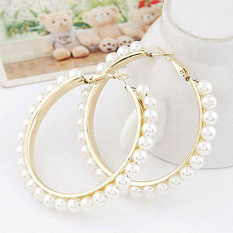 Pair of Beads Decorated Round Shape Earrings - COLOR ASSORTED