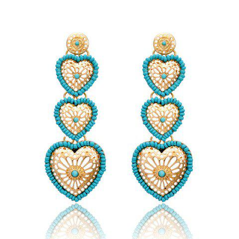 Pair of Romantic Colored Beaded Heart Pendant Earrings For Women